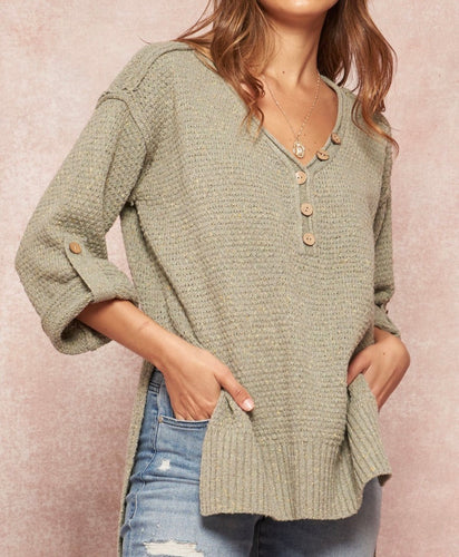 Laurel Oversized Knit Roll-Up Henley Sweater - Sage - Radix Boutique