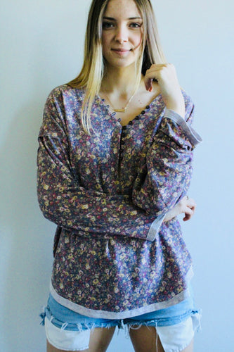 Frances Floral Loose Tunic Top - Lavender - Radix Boutique