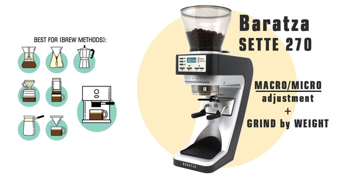Baratza Sette 270Wi Espresso and Aeropress Grinder - Grind by Weight with Acaia Scale