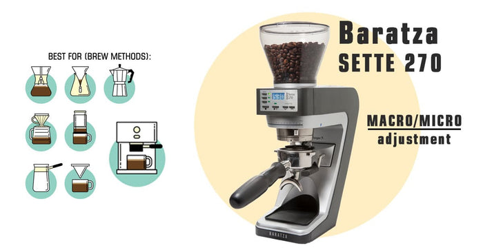 Baratza Sette 270 Coffee Grinder with Macro/Micro adjustment, best for Espresso, Aeropress, V60 and Chemex