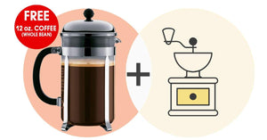 Coffee Kits - Bodum Chambord French Press (34 Oz.) + Coffee Grinder = Starter Set For Home And Travel