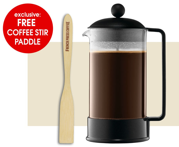 Bodum Brazil French Press Coffee Maker, Black (EXCLUSIVE Bamboo Stirring Paddle Set)