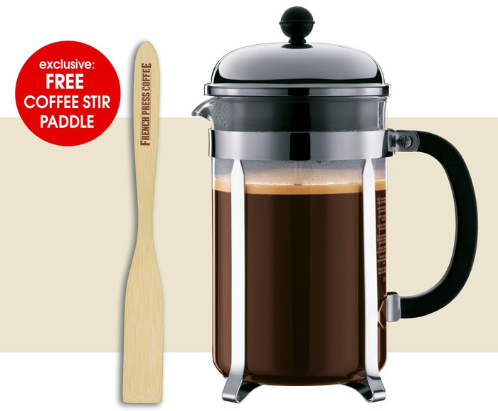 Bodum CHAMBORD French Press Coffee Maker, Chrome (EXCLUSIVE Bamboo Stirring Paddle Set)