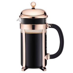Coffee Press - Bodum Chambord French Press, Copper, 8 Cup (EXCLUSIVE Bamboo Stirring Paddle Set)