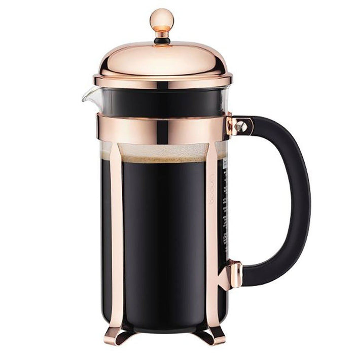 Bodum Chambord French Press, Copper, 8 cup (EXCLUSIVE Bamboo Stirring Paddle Set)