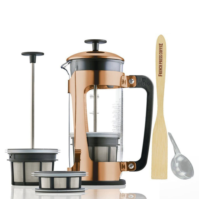 Espro Press P5 - Copper French Press Coffee Maker (EXCLUSIVE: Free Coffee Stir Paddle)