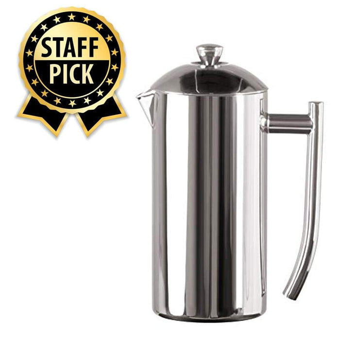 Frieling French Press, Stainless Steel French Press, Double Wall Coffee Maker with Dual Screen (Exclusive Home Barista Bundle)