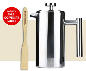 Coffee Press - Stainless Steel French Press, Double Wall, 34 Oz. (8-cup)