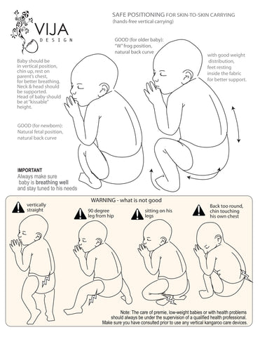 Safe position for baby during skin to skin contact