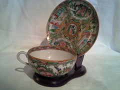Chinese Famille Rose Medallion cup and saucer with display stand