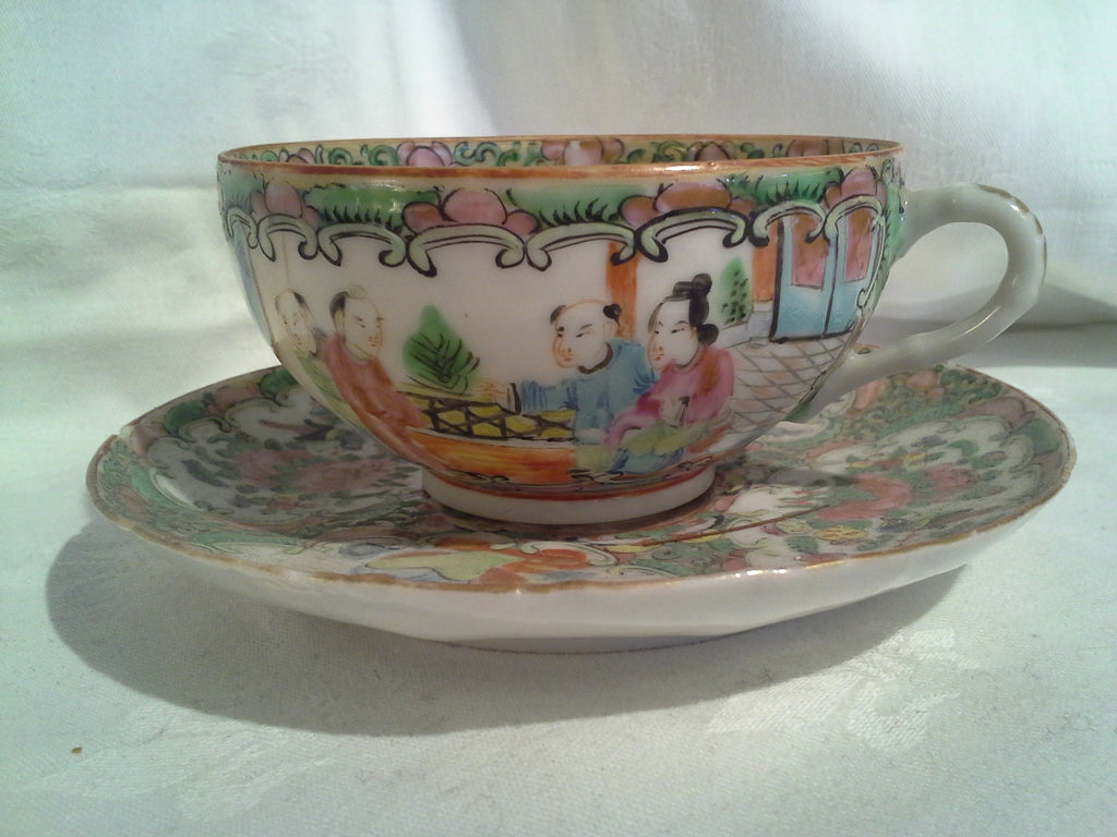 Chinese Famille Rose Medallion tea cup and saucer