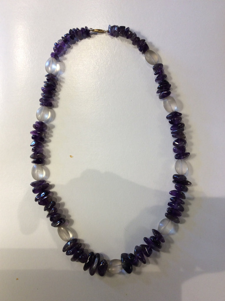 Amethyst and crystal necklace