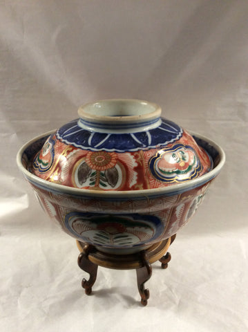 20th Century Imari rice bowl with plate/lid and stand