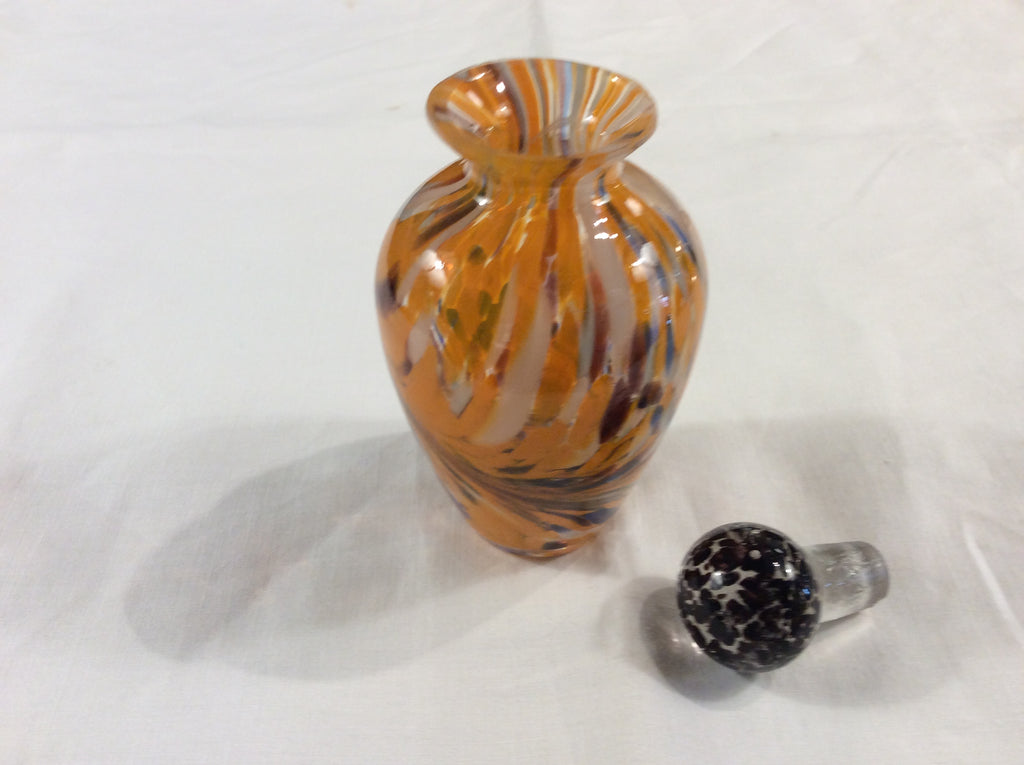 Handblown perfume bottle with handblown stopper
