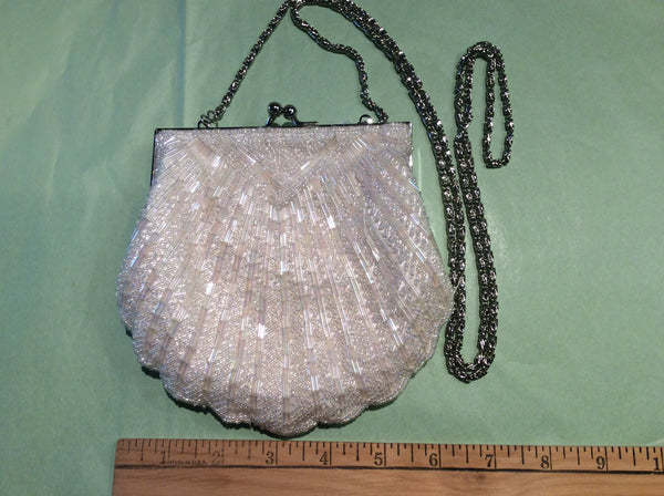 White scalloped beaded evening bag