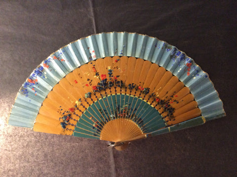 Vintage Hand Painted Cuban  polished palm stick and paper fan