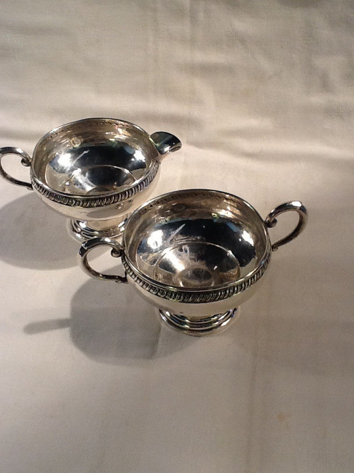 Sterling silver cream and sugar set