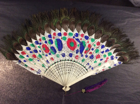 Qing Dynasty Vintage Painted Feather and Peacock Feather Fan