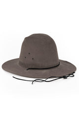BROOKES BOSWELL Vintage 033 Hat, Grey Fur Felt / Black Leather Drawstring