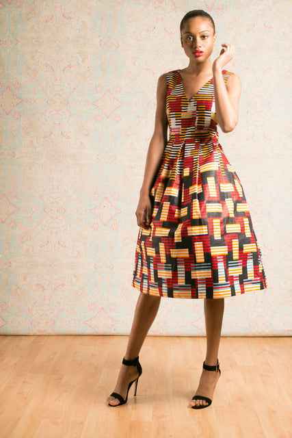 Lena V Dress - Red Yellow Mix