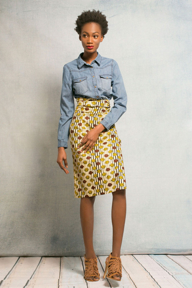 Cowrie Mix Iro Wrap Skirt