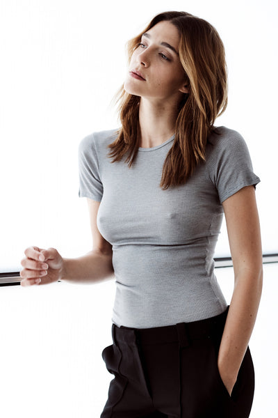 The Ribbed Silk Tee