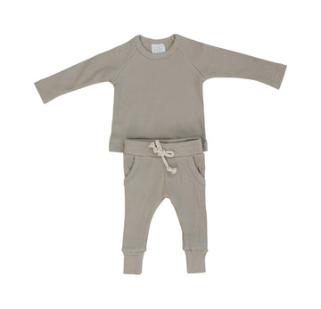 ORGANIC COTTON RIBBED 2 PIECES SET⎪OATMEAL