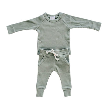 ORGANIC COTTON RIBBED 2 PIECES SET⎪GREEN