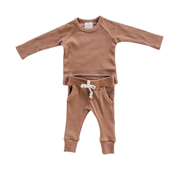 ORGANIC COTTON RIBBED 2 PIECES SET⎪RUST