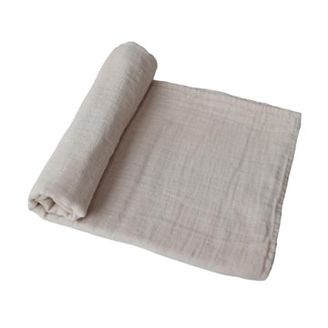 ORGANIC COTTON MUSLIN SWADDLE BLANKET⎜FOG