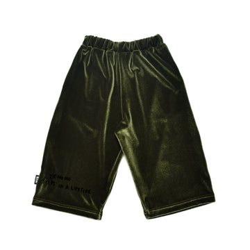 VELVET CROPPED PANTS - GREEN
