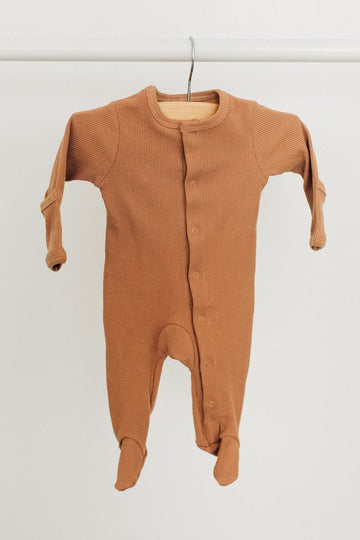 CAMEL RIBBED FOOTED ONE PIECE