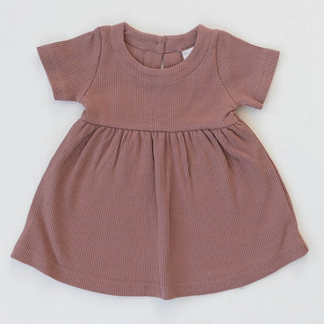 DUSTY ROSE RIBBED DRESS