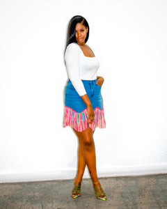 Neon Lights Fringe Skirt
