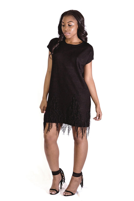Black Fringe Sweater Dress