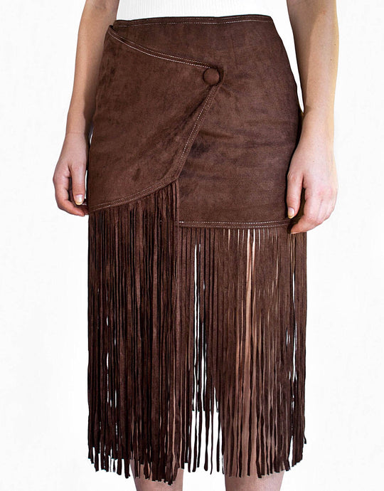 Chocolate Brown Fringe Skirt
