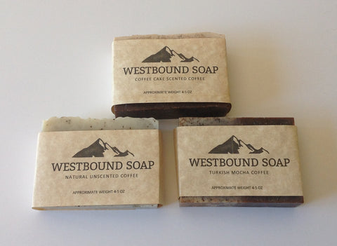 http://www.westboundsoap.com/products/4-piece-gift-set-of-coffee-soap-cold-process-soap-assortment-pack-great-gift-for-dad-men