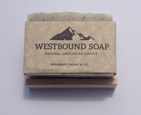 Natural Unscented Coffee Cold Process Soap with Self Draining Wooden Soap Dish