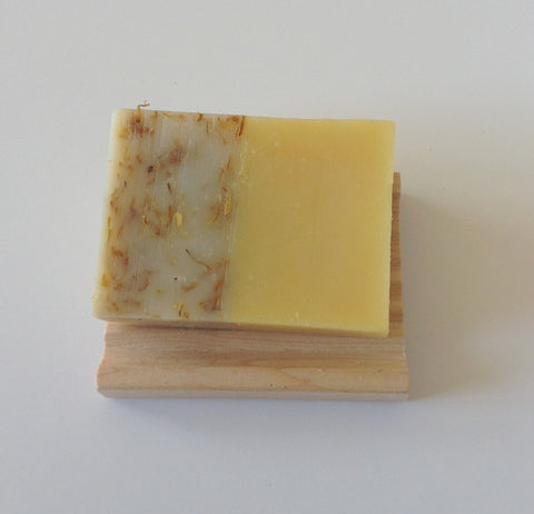 Sunshine Calendula Orange Essential Oil Natural Soap with Wooden Soap Dish