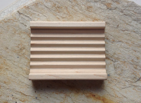 Hardwood Draining Soap Dish with Ridges Handmade in Vermont