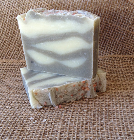 Scented Smoky Sunset Cold Process Sea Clay Soap with Pink Sea Salt