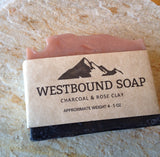 Charcoal Rose Clay Handmade Scented Soap Cold Process with Wooden Soap Dish