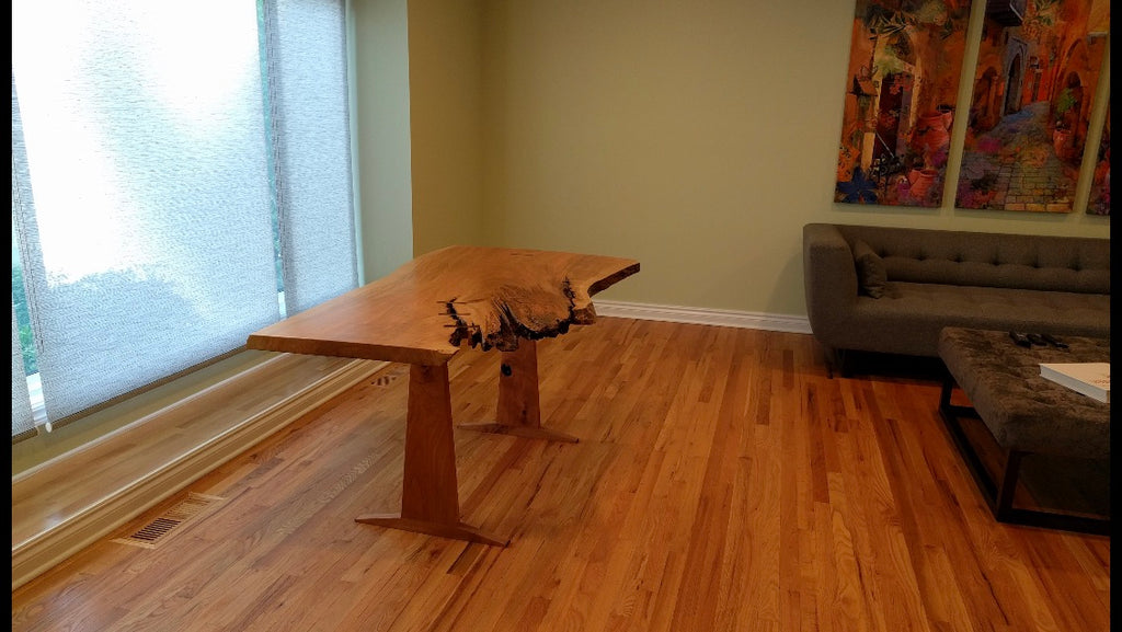 Live Edge Dining Table: Cherry Wood & Macassar Ebony