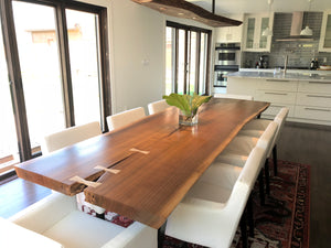 Live Edge Artisan Black Walnut Dining Table with Birdseye Maple