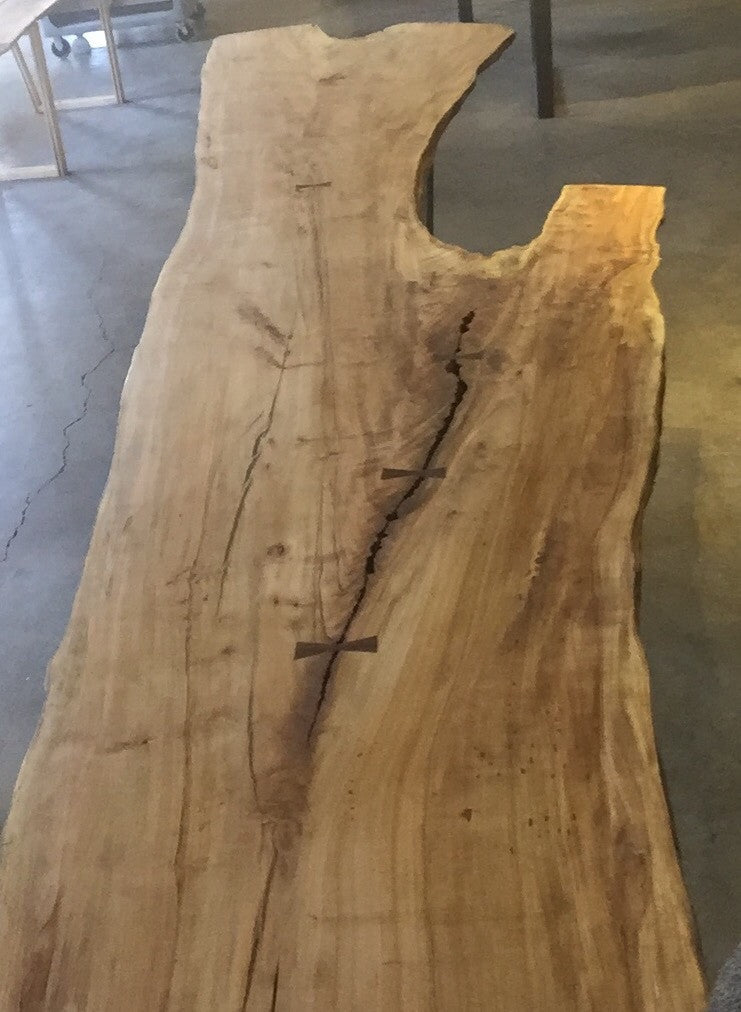 Live Edge Dining Table: Giant Highly Figured Maple & Black Walnut