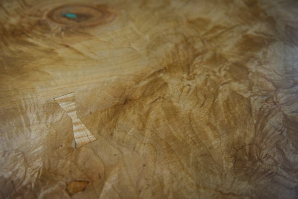 Hand Crafted Dining Table, Live Edge Reclaimed Maple Wood, Turquoise Inlays