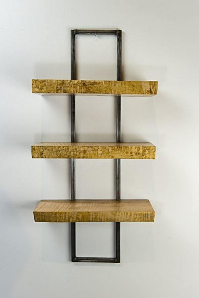 Highly Figured Curly Maple Wall Shelf with Metal Frame