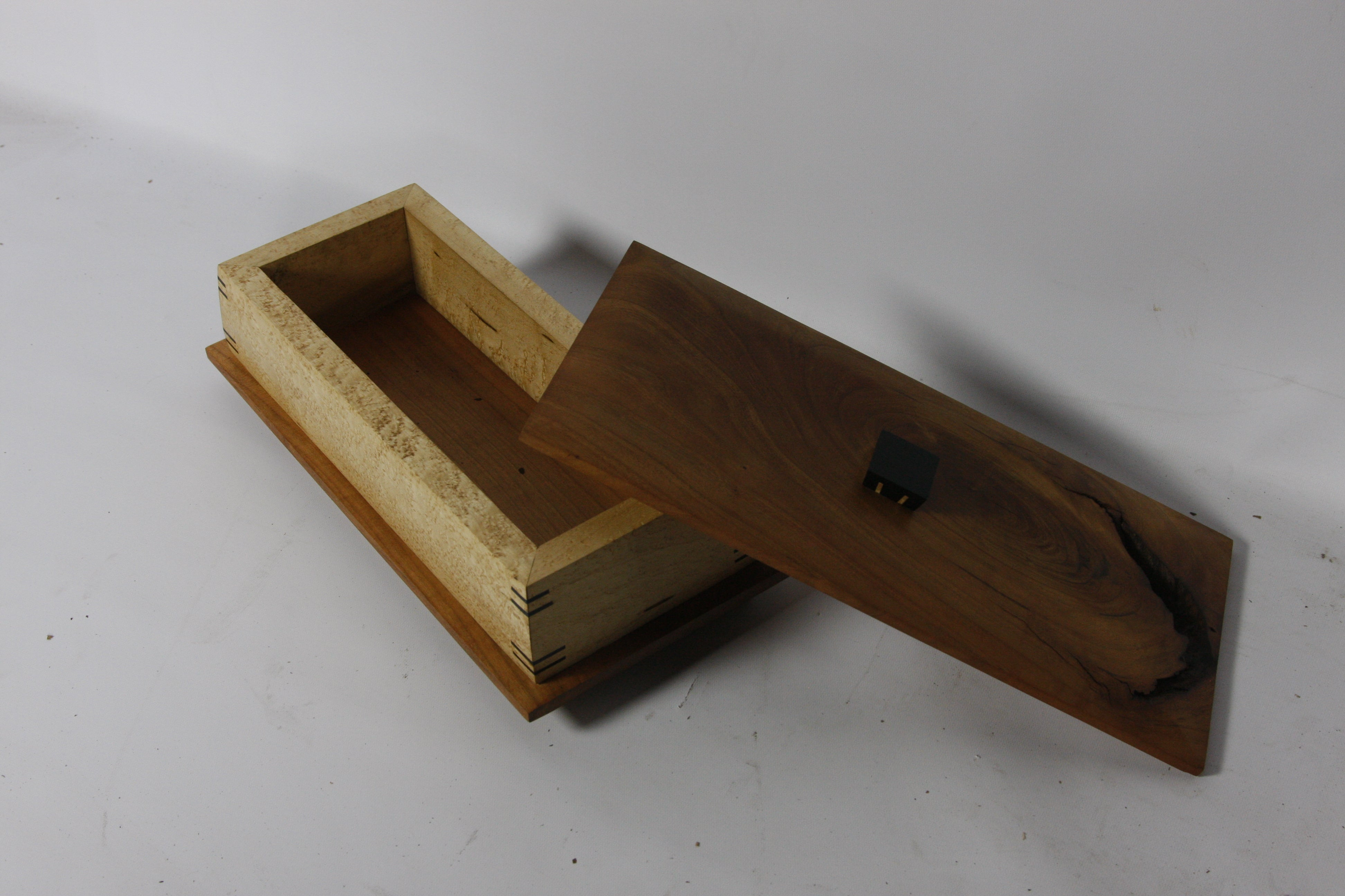Live Edge Artisan Memento Box: Black Walnut, Birds Eye Maple & Macassar Ebony