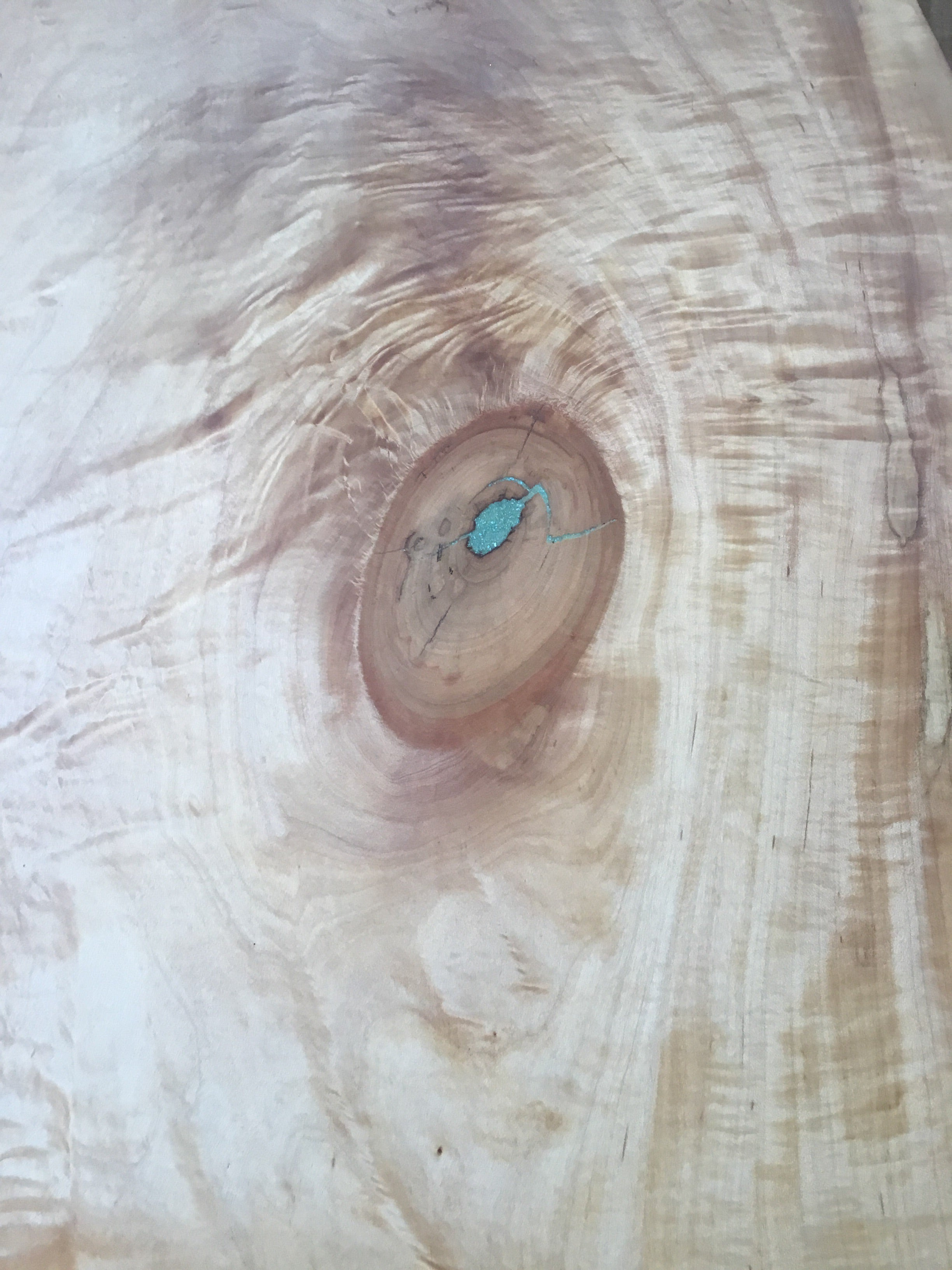 Live Edge Dining Table Top with Crushed Turquoise