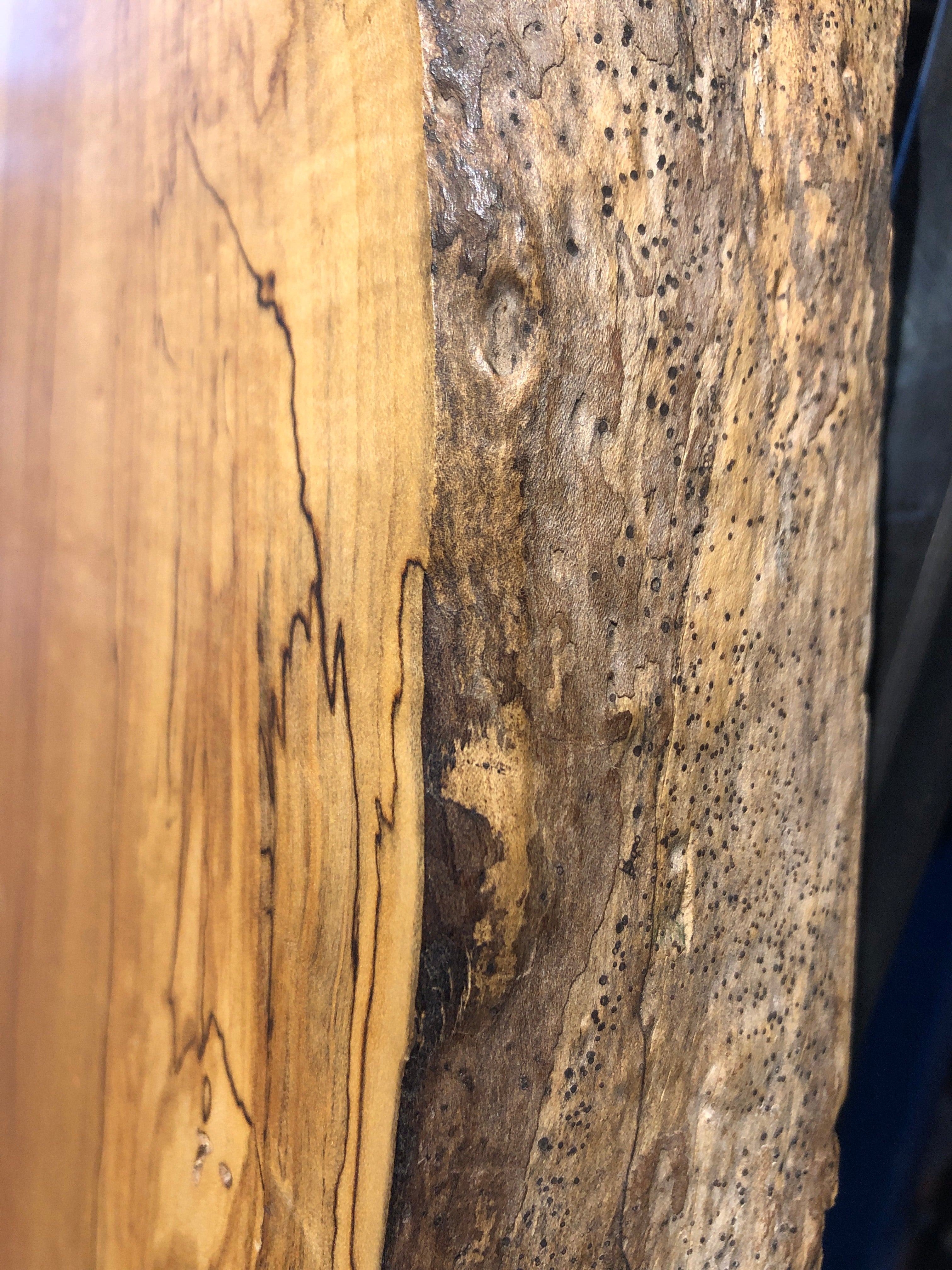 Live Edge Dining Table: Spalted Maple & Black Walnut